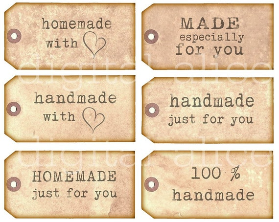 HOMEMADE HANDMADE TAGS Product Labels Instant Download