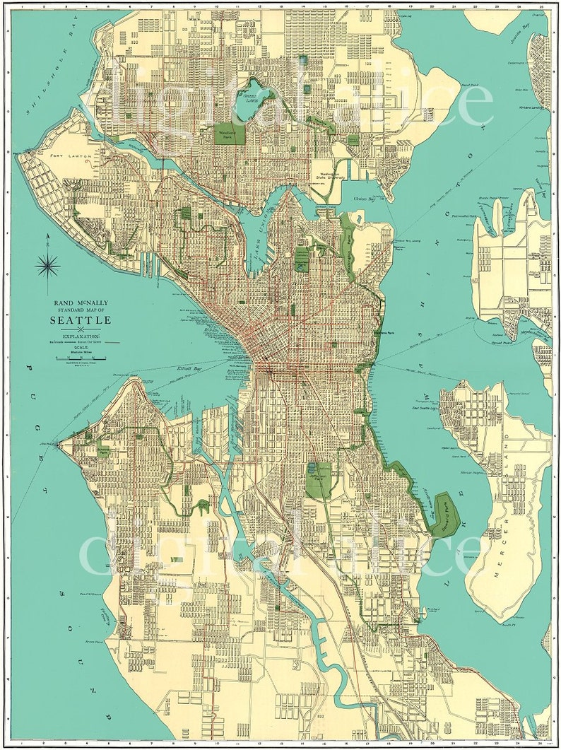 photo relating to Printable Map of Seattle identify Typical 1920s SEATTLE Highway MAP - Town of Seattle Washington - Prompt Down load Electronic Printable Map - 3 dimensions