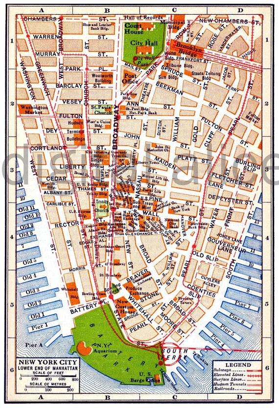 Vintage Nyc Map Alte Karte 1915 Lower Manhattan New York