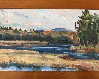 VINTAGE LANDSCAPE PAINTING plein air oil of mountains and marshes signed by artist Laurette Carroll 1978
