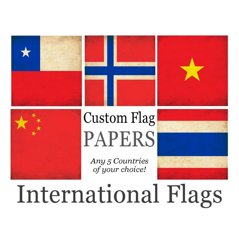 photo about Printable Flag identified as PRINTABLE FLAGS - Obtain your Personalized World Flag Paper Pack - Quick Electronic Printable Papers 12 X 12 - 5 International locations your self determine