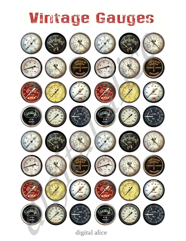 1d85d21114e74 VINTAGE METERS and GAUGES Craft Circles - Industrial Dials and Gages  -Instant Download Digital Printable Bottlecaps 1,1.5,2 and 3 in circles