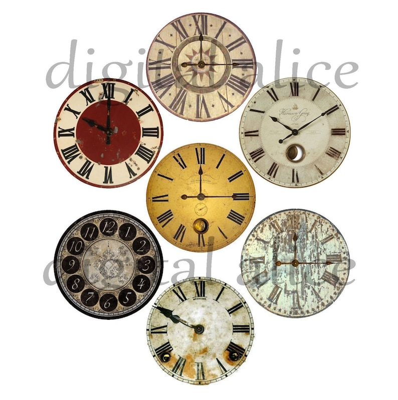 photo regarding Printable Clock Faces for Crafts titled Classic CLOCK FACES Craft Circles - 4 Immediate Obtain Electronic Printable 1,2,3 inch and 30mm Steampunk Commercial Antique Clocks - 4 dimensions