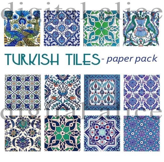Iznik Fliesen Turkischen Fliesen Papier Pack 14 Papiere Etsy