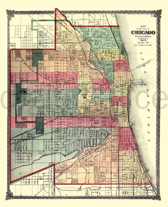 graphic regarding Printable Map of Chicago identified as Traditional CHICAGO MAP - Outdated Map 1875 Chicago Illinois - Fast Down load Electronic Printable Map