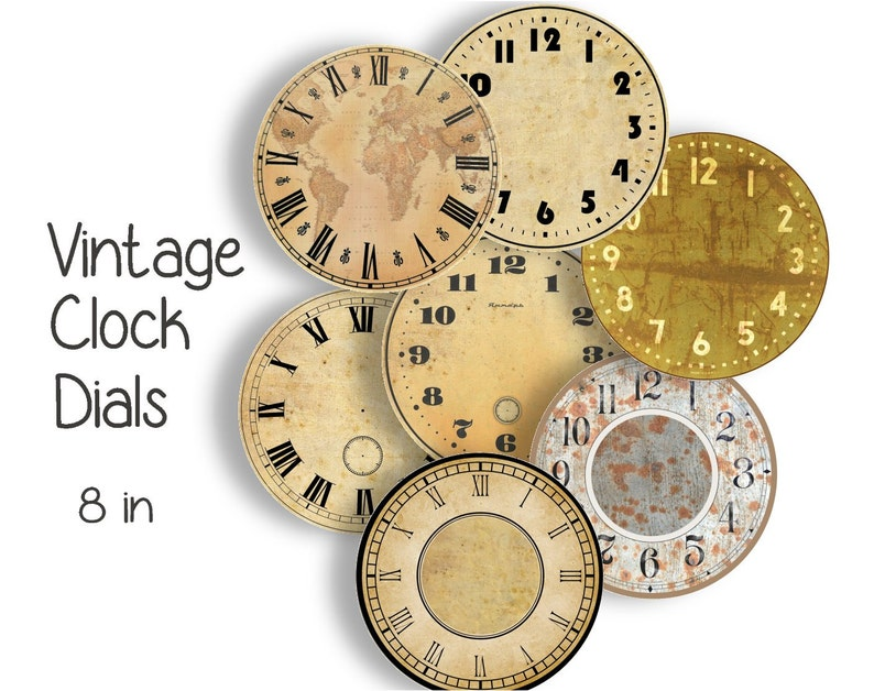 image relating to Printable Clock Faces called Typical CLOCK FACES - 8 inch Craft Circles - Fast Obtain Electronic Printable Clock Check out Dials Steampunk Professional Antique Clocks