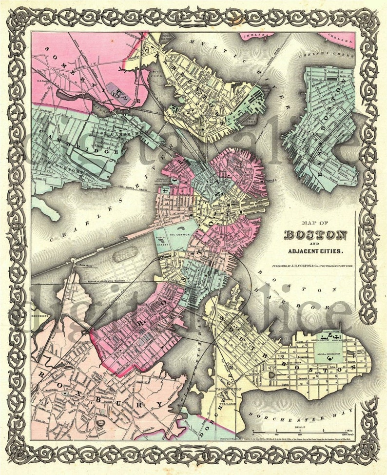photograph relating to Printable Map of Boston referred to as Traditional BOSTON MASSACHUSSETTS MAp - Aged Map 1855 Bean City Boston- Fast Obtain Electronic Printable Map
