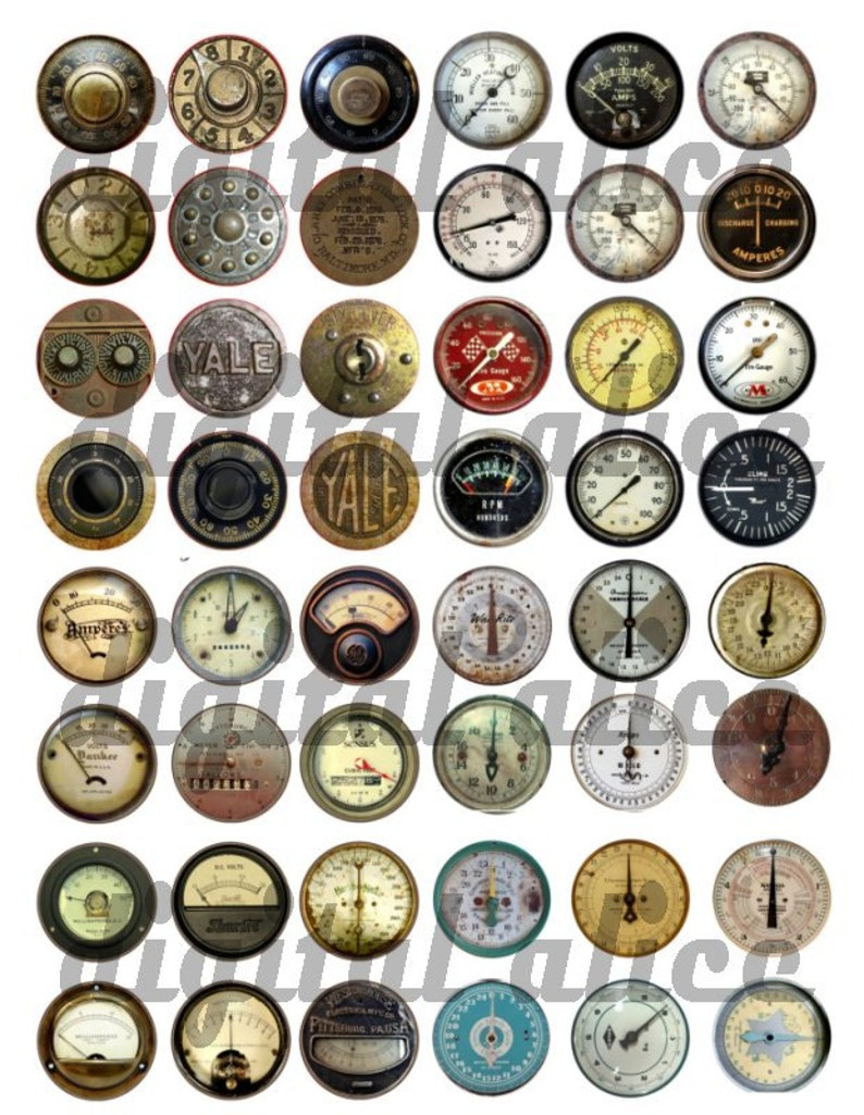 d6166f45c4881 STEAMPUNK INDUSTRIAL Printable Craft Circles -36 METERS,  Dials,Gauges,Scales -Variety Pack Digital Download Bottlecaps Collage Sheet  4 sizes