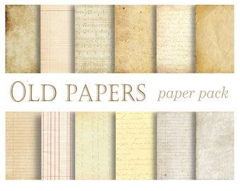 VINTAGE PAPER TEXTURES- printable old paper backgrounds for crafts, photography, Wallpaper, Wedding, Party, Distressed- 12 Papers