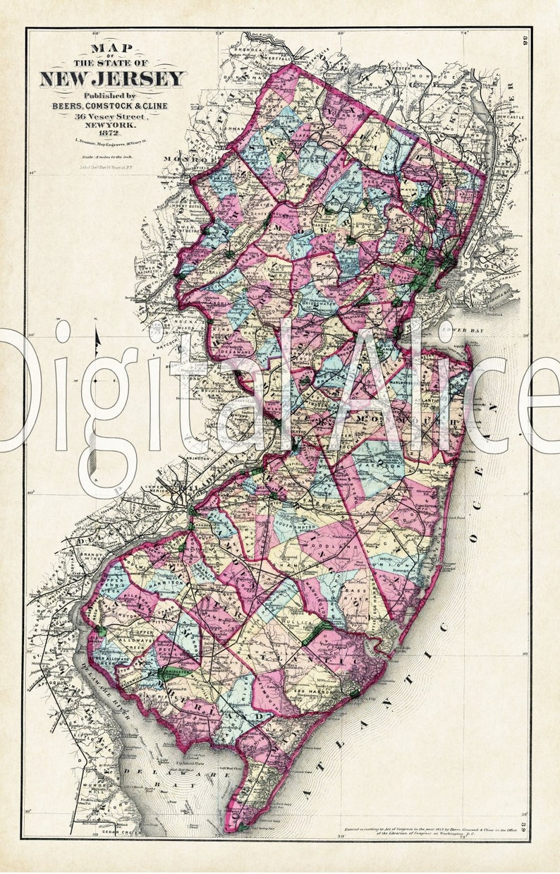 picture regarding Printable Map of New Jersey named Common Clean JERSEY Region Map - Outdated Map 1872 Jersey - Immediate Obtain Electronic Printable Map - Antique Map of Fresh new Jersey