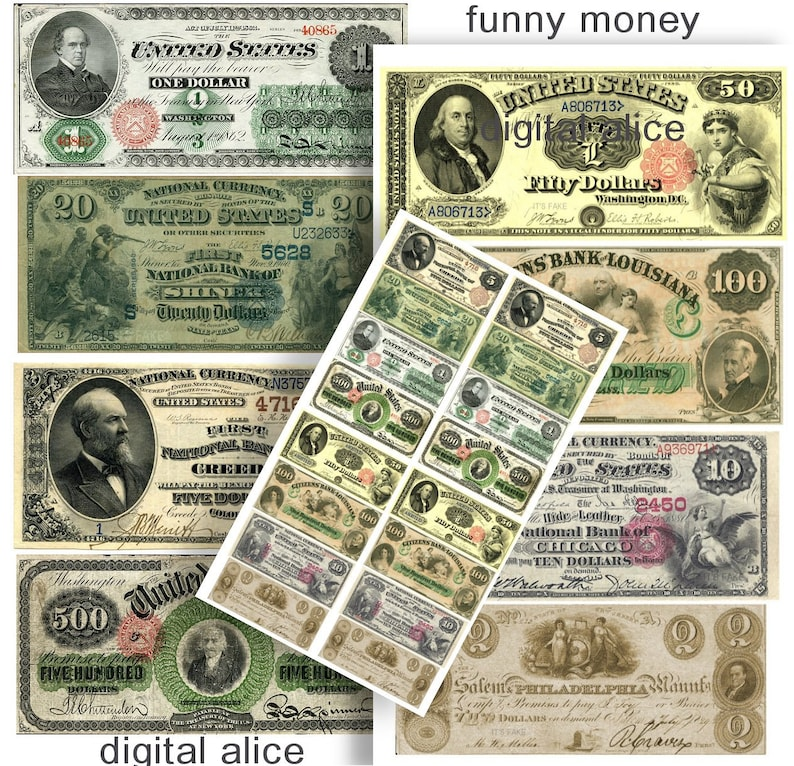graphic regarding Fake 1000 Dollar Bill Printable named Phony Fiscal Antique Forex Greenback Expenses - Electronic Obtain Printable - Enjoy Revenue -1, 2,5,10,20,50,100,500 - Bogus Economical watermarked
