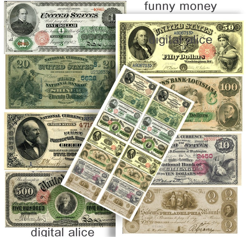 picture relating to Printable Play Money Front and Back referred to as Untrue Economic Antique Forex Greenback Charges - Electronic Obtain Printable - Perform Cash -1, 2,5,10,20,50,100,500 - False Cash watermarked