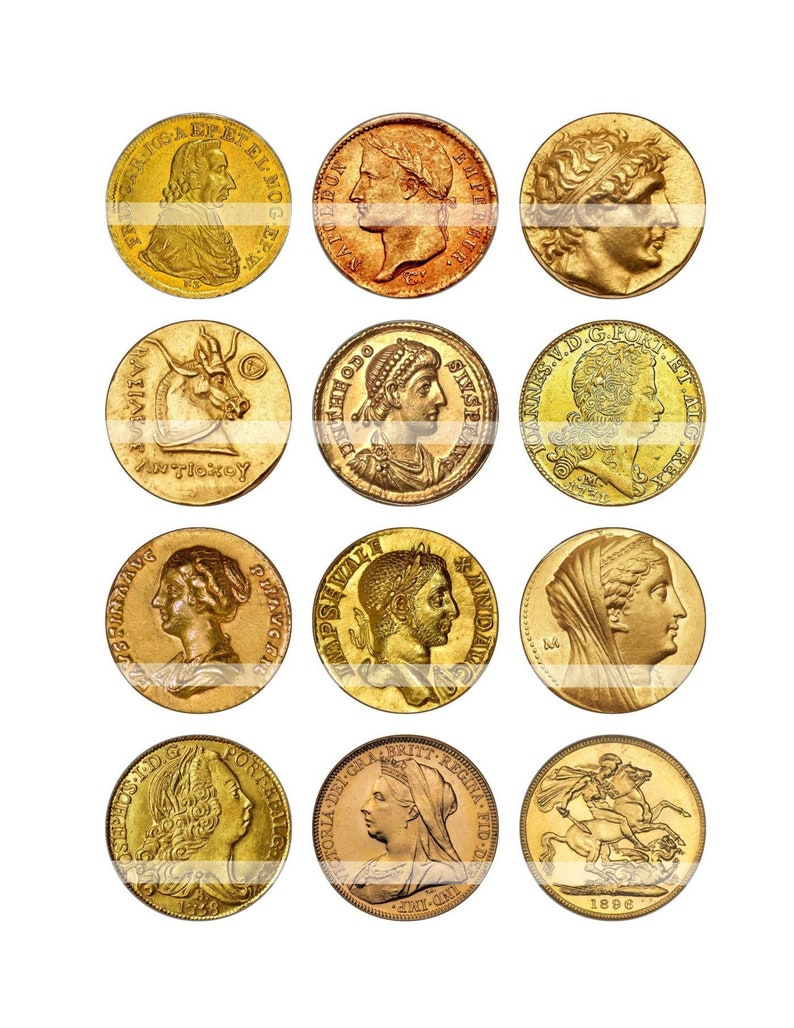 graphic regarding Printable Gold Coins identified as Uncommon GOLD Cash Craft Circles - Printable Historical Antique Cash - Quick Down load Bottlecaps, Collage Sheet , sbooking crafts