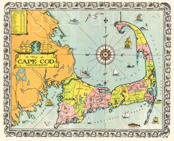 Old CAPE COD MAP Download bunten 1939 Cape Cod Masse | Etsy
