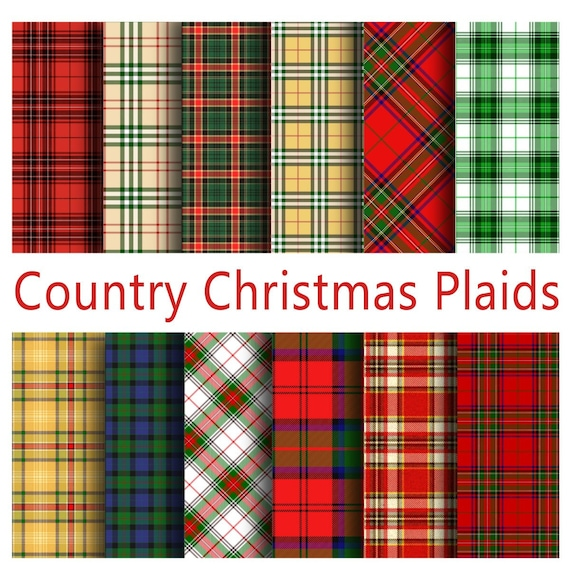 Christmas Plaid.Country Christmas Plaid Papers Scottish Tartans And Xmas Plaids Digital Paper Pack 12 Plaid Printable Papers Instant Download Digital