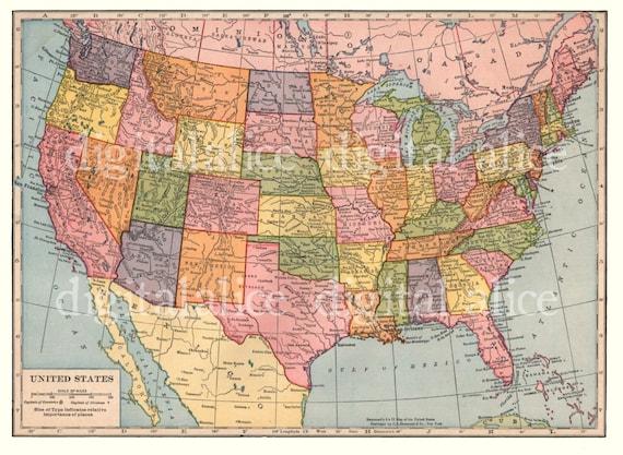 Vintage USA MAP North America Instant Download Digital | Etsy