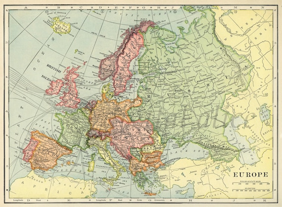 Vintage 1901 Mapa Europy Instant Download Cyfrowe Do Etsy