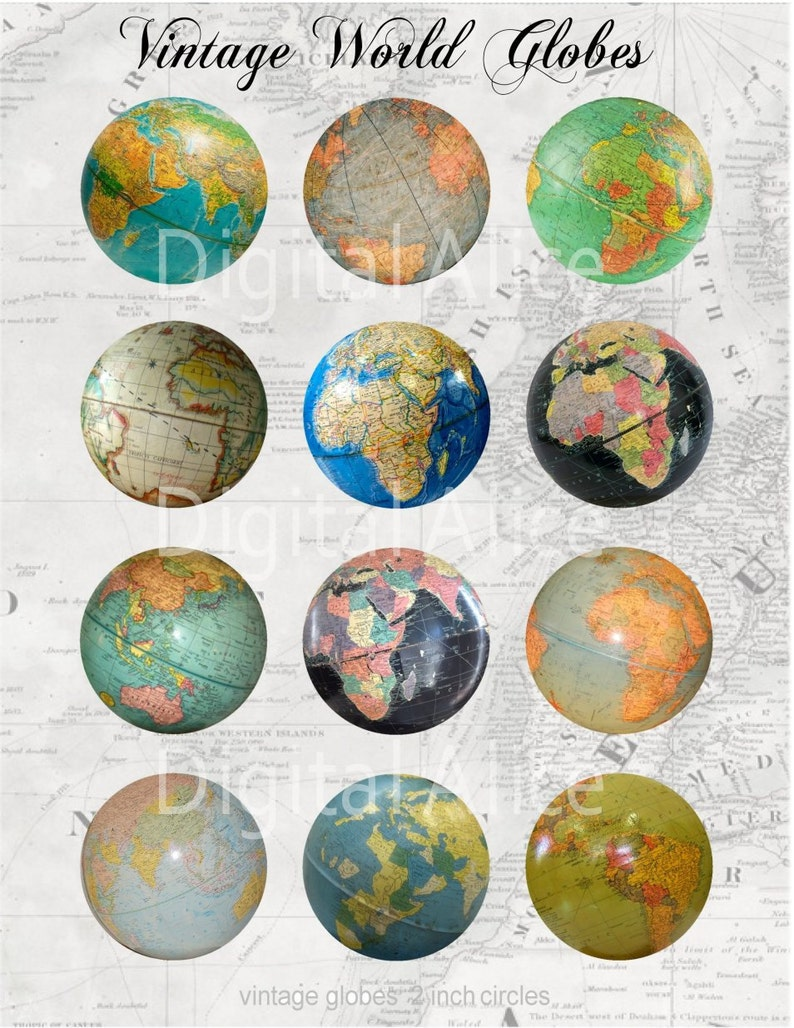 photograph about Printable Globe identify Typical Entire world GLOBES Craft Circles - Retro Table Earth - Instantaneous Obtain Electronic Printable Atlas World Circles -Bottlecaps Collage Sheet -