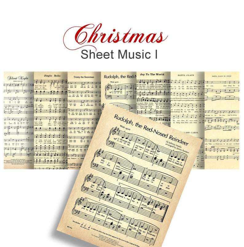 photograph about Vintage Christmas Sheet Music Printable,frosty the Snowman identify Xmas CAROLS Sheet New music no 1 - Electronic Paper Pack - 7 Xmas Audio Classic Piano Audio -Fast Down load Electronic Printable Papers