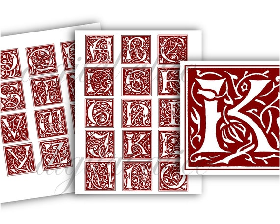 MEDIEVAL ILLUMINATED LETTERS- Fancy Gothic Initials Alphabet ABCs - on
