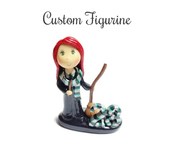 Custom Cold Porcelain Clay Witchcraft School of Magic Student Figurine, Personalized Wizard Witch Birthday Cake Topper, Halloween Decor Gift