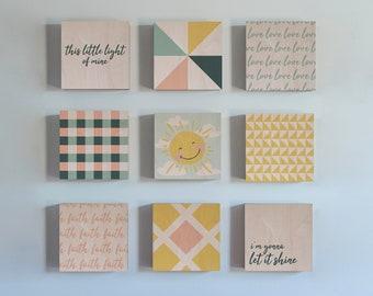 Set of Sunshine Patchwork Prints, Wood Wall Art, Nursery Decor, Kids Room, Wood Print, Patterns, Love, Faith, Sun, This Little Light of Mine