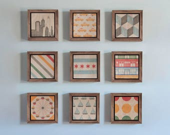 Set of Chicago Prints, Chicago Flag, Chicago Skyline, City Prints, Wood Block, Wall Art, Nursery Decor, Kids Room, Train, Sailboat