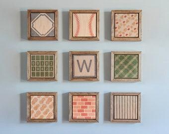 Chicago Cubs Set, Wrigley Field, Fly the W, Wood Block, Wood Wall Art, Home Decor, Cubs Baby, Nursery Decor, Kids Room, Baseball