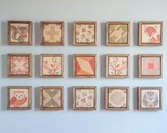 Woodland Nursery, Patchwork Prints, Wood Wall Art, Gender Neutral Baby, Nursery Decor, Wall Art, Framed Art, Home Decor, Kids Room Decor
