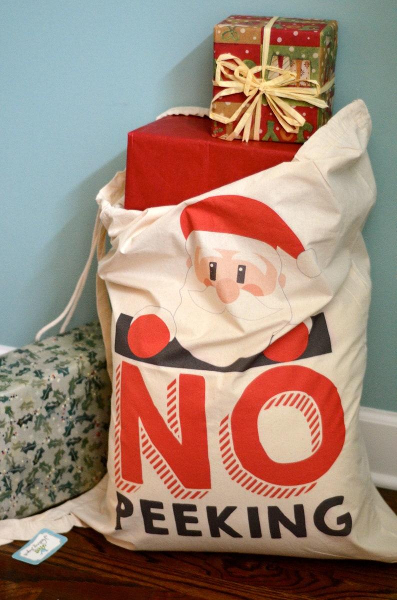 Santa Bag No Peeking Large Christmas Bag  Santa Sack Christmas Gift Bag 23x33  Santa Delivery Bag