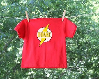 Superhero Birthday Flash Personalized Name Shirt, Short Sleeve Halloween Superhero Costume Shirt, Personalized Superhero Shirt