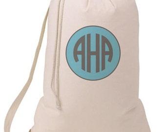 Grad Gift Circle Monogram Laundry Bag, Humorous Laundry Bag, College Hamper, College Student Gift- Graduation Gift- BEagle