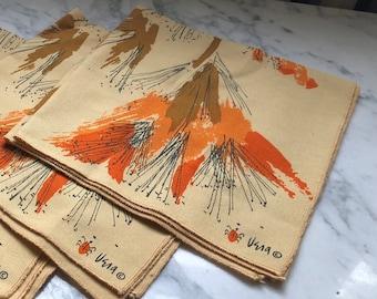 Set of 4 Vintage Cotton Vera Neumann Ladybug Napkins Tiger Lily Print