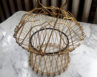 French Collapsible Gold Metal Egg Basket Catchall
