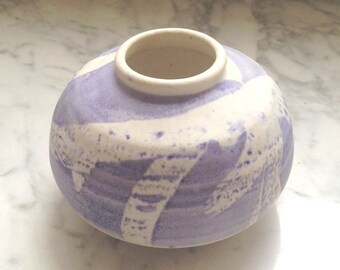 Canadian Handmade Artisan Art Pottery Pot with Lavender Purple Modern Abstract Vase Signed D. Clark Canada