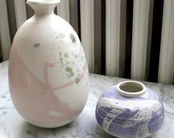 Helga Mader Canadian Modern Art Pottery Vase Abstract Vase Pink and Green