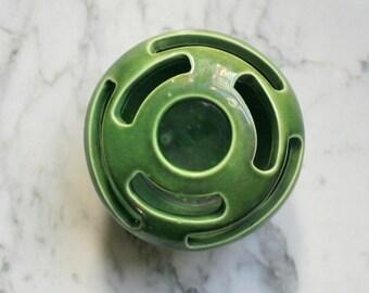 Green Vase Art Pottery Floral Frog Sculptural Camark USA