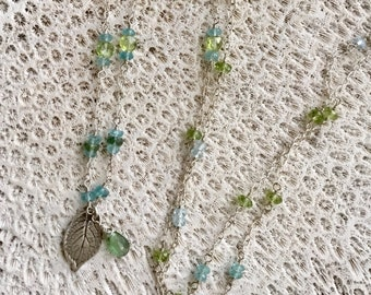 Long Gemstone Necklace, Multi Gemstone Necklace, Blue Topaz, Apatite, Peridot, Tourmaline, Semi Precious Stone Necklace, Gem Bead Necklace
