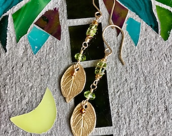 Hand Made Earrings, Rose leaf Earrings, Gemstone Earrings, Peridot Earrings, Gold Earrings, August Birthstone Earrings