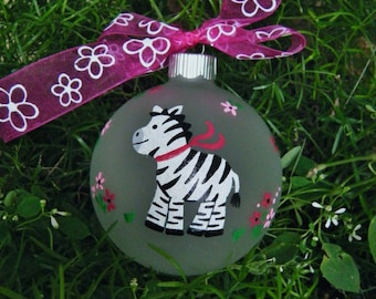 zebra ornament personalized for birthday or christmas hand painted glass bauble zebra birthday zoo animal zebra print zebra decor - Christmas Zebra Decorations