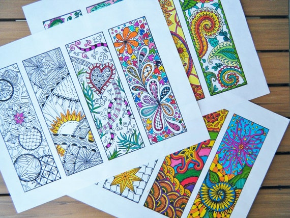 Bookmarks to Color Three Pages Zentangle Bookmarks Doodle | Etsy