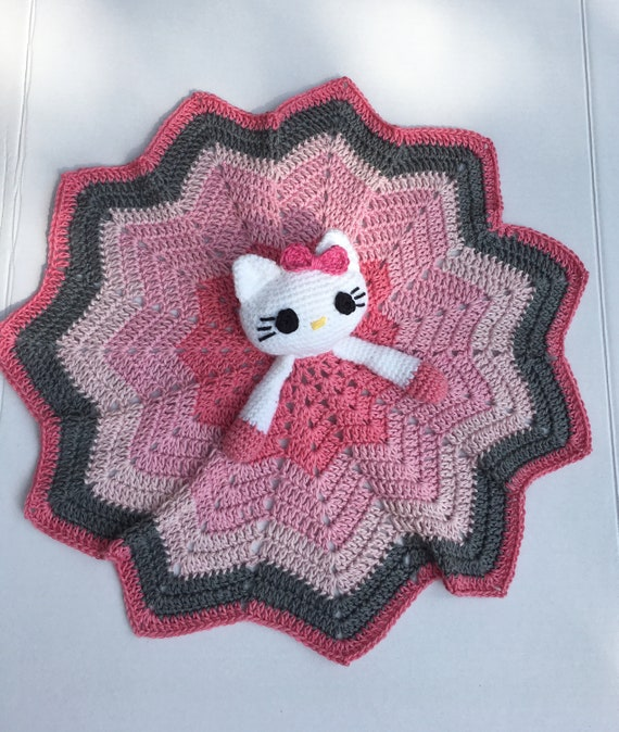 Hello Kitty Lovey Blanket Baby Security Lovey Crochet Kitty Etsy