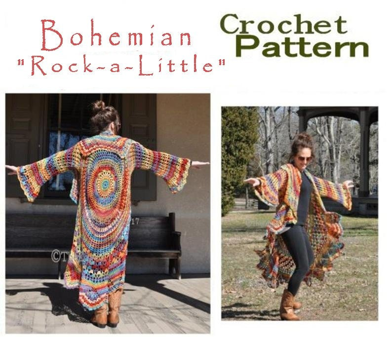 7676c1bf557 Bohemian Hippie Sweater Crochet PATTERN Rock a