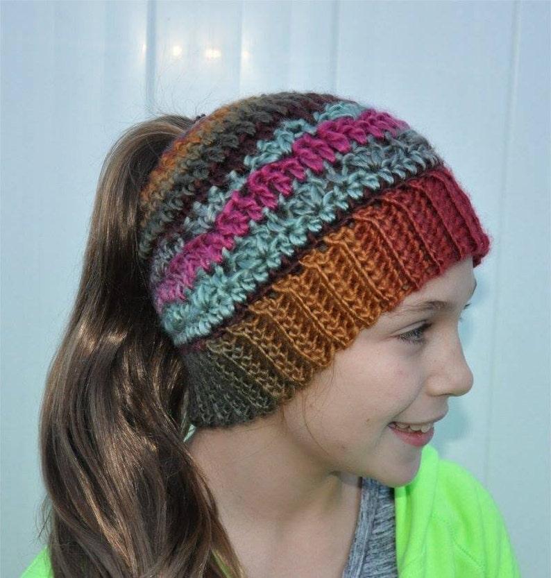 Mom Bun hat Pony Tail Hat Messy Bun Crochet Beanie Messy hair day READY TO SHIP! Messy Bun Hat