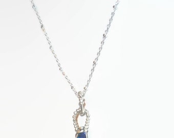 1ct Blue Boulder Opal Necklace Sterling Silver .925 Wire Wrapped
