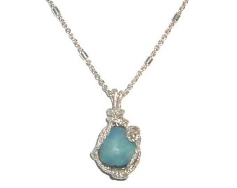 2.5ct Blue Boulder Opal Necklace Faceted Sterling Silver .925 Wire Wrapped