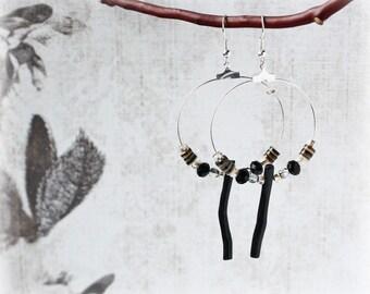 Hoop Earrings Glass Bead Earrings Black Earrings Drop Earrings Boho Earrings Traditional Earrings Elegant Earrings Classic Earrings