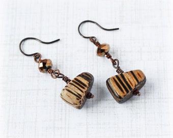Coconut Earrings Crystal Earrings Copper Earrings Drop Earrings Boho Earrings Rustic Earrings Tribal Earrings Brown Earrings Earthy Earrings