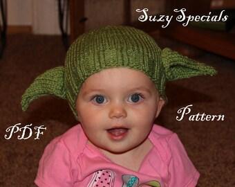 Pattern Knitted Yoda Hat  0e47a68bf8e