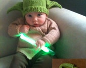ON SALE   Limited Stock   Hand Knitted Green Yoda Like Hat and Brown Jacket Set with Slippers   Ready to Ship  